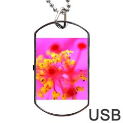 Bright Pink Hibiscus 2 Dog Tag USB Flash (Two Sides)  by timelessartoncanvas
