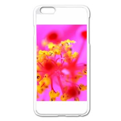 Bright Pink Hibiscus 2 Apple iPhone 6 Plus Enamel White Case by timelessartoncanvas