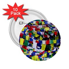 Tibetan Buddhist Prayer Flags 2 25  Buttons (10 Pack)  by CrypticFragmentsColors