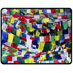 Tibetan Buddhist Prayer Flags Double Sided Fleece Blanket (medium)  by CrypticFragmentsColors