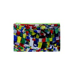 Tibetan Buddhist Prayer Flags Cosmetic Bag (xs) by CrypticFragmentsColors