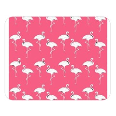 Flamingo White On Pink Pattern Double Sided Flano Blanket (large)
