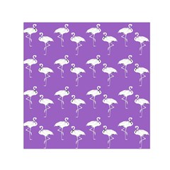 Flamingo White On Lavender Pattern Small Satin Scarf (square)