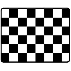Checkered Flag Race Winner Mosaic Tile Pattern Double Sided Fleece Blanket (medium)  by CrypticFragmentsColors