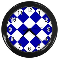 Harlequin Diamond Pattern Cobalt Blue White Wall Clocks (black) by CrypticFragmentsColors
