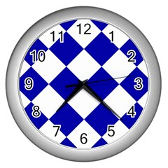 Harlequin Diamond Pattern Cobalt Blue White Wall Clocks (silver)  by CrypticFragmentsColors