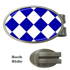 Harlequin Diamond Pattern Cobalt Blue White Money Clips (oval)  by CrypticFragmentsColors