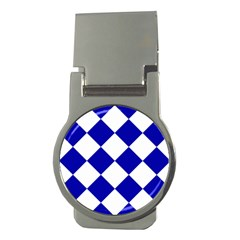 Harlequin Diamond Pattern Cobalt Blue White Money Clips (round)  by CrypticFragmentsColors