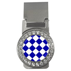 Harlequin Diamond Pattern Cobalt Blue White Money Clips (cz)  by CrypticFragmentsColors