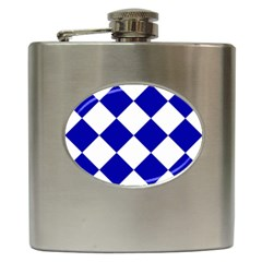 Harlequin Diamond Pattern Cobalt Blue White Hip Flask (6 Oz) by CrypticFragmentsColors