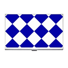 Harlequin Diamond Pattern Cobalt Blue White Business Card Holders by CrypticFragmentsColors
