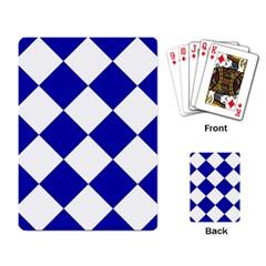 Harlequin Diamond Pattern Cobalt Blue White Playing Card