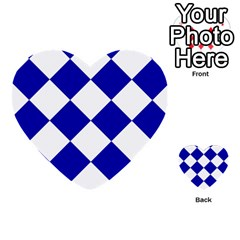 Harlequin Diamond Pattern Cobalt Blue White Multi Purpose Cards (heart)  by CrypticFragmentsColors