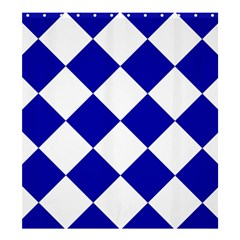 Harlequin Diamond Pattern Cobalt Blue White Shower Curtain 66  X 72  (large)  by CrypticFragmentsColors