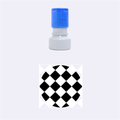 Harlequin Diamond Pattern Cobalt Blue White Rubber Round Stamps (small) by CrypticFragmentsColors