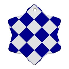 Harlequin Diamond Pattern Cobalt Blue White Snowflake Ornament (2 Side)