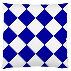 Harlequin Diamond Pattern Cobalt Blue White Large Cushion Cases (two Sides)  by CrypticFragmentsColors