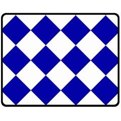 Harlequin Diamond Pattern Cobalt Blue White Double Sided Fleece Blanket (medium)