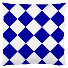 Harlequin Diamond Pattern Cobalt Blue White Standard Flano Cushion Cases (two Sides)  by CrypticFragmentsColors