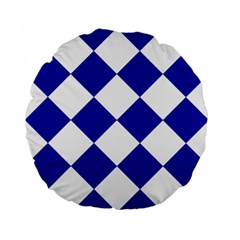 Harlequin Diamond Pattern Cobalt Blue White Standard 15  Premium Flano Round Cushions by CrypticFragmentsColors