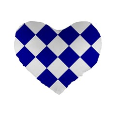Harlequin Diamond Pattern Cobalt Blue White Standard 16  Premium Flano Heart Shape Cushions by CrypticFragmentsColors