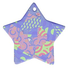 Girls Bright Pastel Abstract Blue Pink Green Ornament (star)