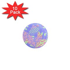 Girls Bright Pastel Abstract Blue Pink Green 1  Mini Magnet (10 Pack)  by CrypticFragmentsColors