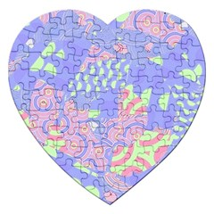 Girls Bright Pastel Abstract Blue Pink Green Jigsaw Puzzle (heart)
