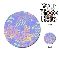 Girls Bright Pastel Abstract Blue Pink Green Multi Purpose Cards (round)