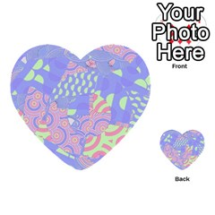 Girls Bright Pastel Abstract Blue Pink Green Multi Purpose Cards (heart)