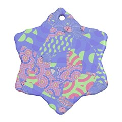 Girls Bright Pastel Abstract Blue Pink Green Ornament (snowflake) by CrypticFragmentsColors