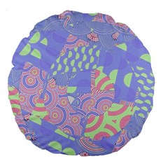 Girls Bright Pastel Abstract Blue Pink Green Large 18  Premium Round Cushion  by CrypticFragmentsColors
