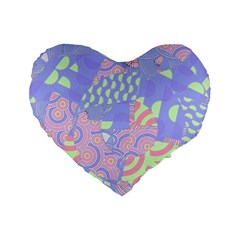 Girls Bright Pastel Abstract Blue Pink Green Standard 16  Premium Heart Shape Cushion  by CrypticFragmentsColors