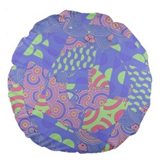 Girls Bright Pastel Abstract Blue Pink Green Large 18  Premium Flano Round Cushion  by CrypticFragmentsColors