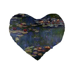 Claude Monet   Water Lilies Standard 16  Premium Heart Shape Cushions by ArtMuseum
