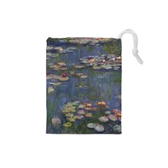 Claude Monet   Water Lilies Drawstring Pouches (small)  by ArtMuseum