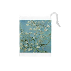 Almond Blossom Tree Drawstring Pouches (small)  by ArtMuseum