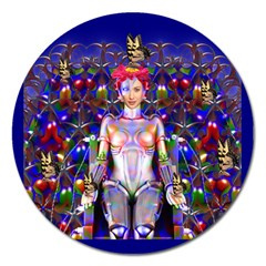 Robot Butterfly Magnet 5  (round) by icarusismartdesigns