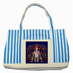 Robot Butterfly Striped Blue Tote Bag  by icarusismartdesigns