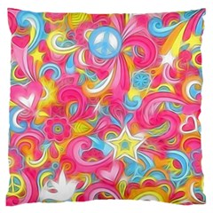 Hippy Peace Swirls Large Flano Cushion Cases (one Side)  by KirstenStar