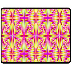 Pink And Yellow Rave Pattern Double Sided Fleece Blanket (medium)  by KirstenStar
