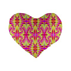 Pink And Yellow Rave Pattern Standard 16  Premium Flano Heart Shape Cushions by KirstenStar