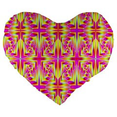 Pink And Yellow Rave Pattern Large 19  Premium Flano Heart Shape Cushions by KirstenStar