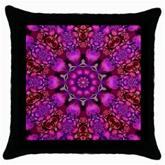 Pink Fractal Kaleidoscope  Throw Pillow Cases (black) by KirstenStar