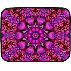 Pink Fractal Kaleidoscope  Fleece Blanket (mini) by KirstenStar