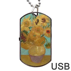 Vincent Willem Van Gogh, Dutch   Sunflowers   Google Art Project Dog Tag Usb Flash (one Side) by ArtMuseum