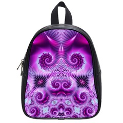 Purple Ecstasy Fractal Artwork School Bags (small)  by KirstenStar