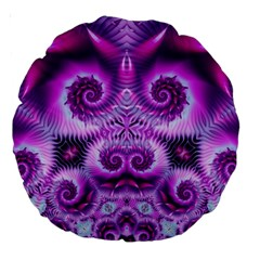 Purple Ecstasy Fractal Artwork Large 18  Premium Round Cushions by KirstenStar