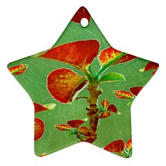 Tropical Floral Print Ornament (star)  by dflcprints