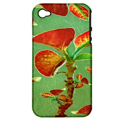 Tropical Floral Print Apple Iphone 4/4s Hardshell Case (pc+silicone) by dflcprints